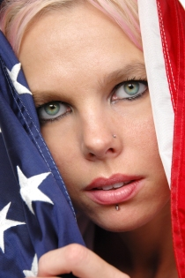 Beautiful blonde with american flag